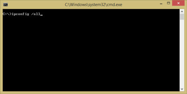 Зображення команди ipconfig