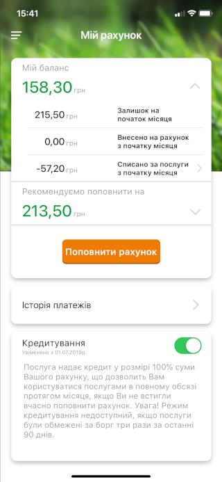 Изображение блока баланса в мобильном приложении